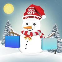 muñeco de nieve con bolsa de papel de compras de venta de invierno vector