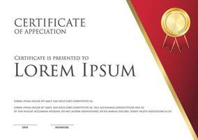 Plantilla de tarjeta de certificado simple tema blanco y rojo con insignia dorada vector