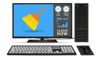 computadora de escritorio con aplicación de limpieza vector