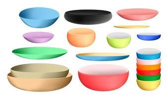 cuenco y platos de cerámica de colores vector