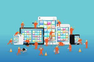 mini workers working on a smartphone and tablet vector