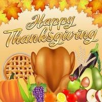 happy thanksgiving celebration  poster banner with food and fruit vector