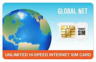 global travel tourist internet smartphone sim card vector