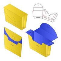 Box packaging die cut template design. 3d mock-up vector