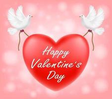 Feliz día de San Valentín corazón rojo con ilustración de palomas blancas. vector