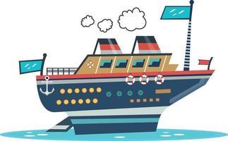 Beautiful cartoon vector ship illustration