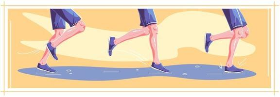 Natural running in wet weather. Right stages of running. Healthy steps of run, lifestyle concept. Autumn sport. Vector flat graphic design illustration set