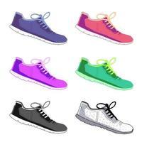 calzado deportivo conjunto de vectores. ropa deportiva de moda, zapatillas de deporte de uso diario, ilustración de ropa de calzado sobre fondo aislado vector