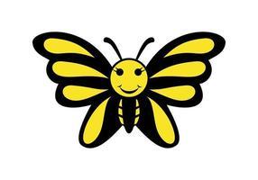 ilustración de dibujos animados de mariposa divertida vector