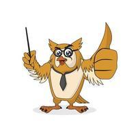 Smart owl character vector