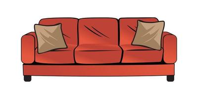 Red couch or sofa design illustration vector