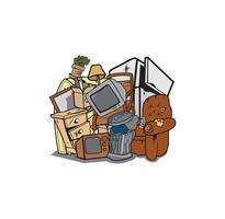 House junk cartoon design illustration vector