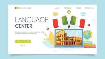 concepto de centro de idiomas de italia vector