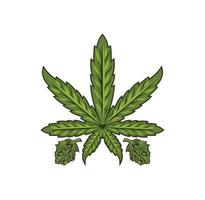 ilustración de diseño de hoja de marihuana cannabis vector