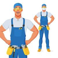 Handyman in bib overalls with arms akimbo. Vector cartoon character. Full size under clipping mask.