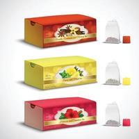 Tea Bags Packaging Realistic Set Vector Illustration