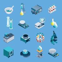 Laboratory Equipment Isometric Icons Vector Illustration