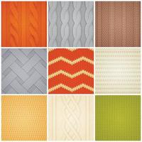 Realistic Knitted Patterns Samples Set Vector Illustration