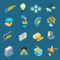 Cryptocurrency Blockchain Isometric Icons Vector Illustration