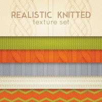 Realistic Knitted Patterns Horizontal Layers Vector Illustration