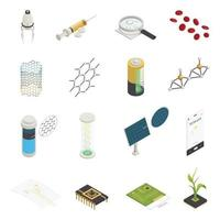 Nanotechnology Nanoscience Isometric Elements Collection Vector Illustration