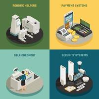 Supermarket Payment Technologies Isometric Concept Vector Illustration