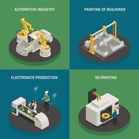 Ilustración de vector de concepto de iconos isométricos de fabricación inteligente