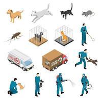 Servicio de control de animales conjunto isométrico ilustración vectorial vector