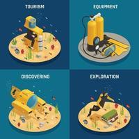 Underwater Equipment 4 Isometric Icons Vector Illustration