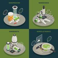 Ilustración de vector de concepto de iconos isométricos de nanotecnología 4