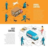 Ilustración de vector de banners horizontales isométricos de control de animales