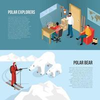 Arctic Polar Exploration Isometric Banners Vector Illustration