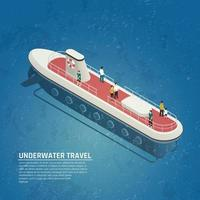 Submarine Underwater Travel Isometric Composition Vector Illustration
