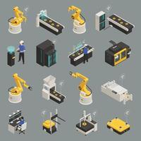 Smart Industry Isometric Icons Set Vector Illustration