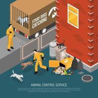 Ilustración de vector de cartel isométrico de servicio de control de animales