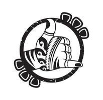 Retro vintage shaka hand sign design illustration vector