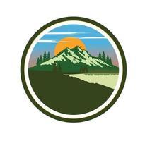 Mountain landscape with trees, sky, sun, pine, spruces, ocean design illustration vector