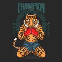 luchador campeón se prepara para la ilustración de batalla vector