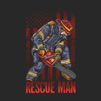 ilustración fresca de la motosierra del uso del hombre del rescate de la lucha contra incendios vector