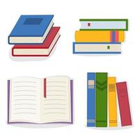 A set of colorful books and textbooks in the flat style vector