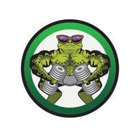 lizard fitness body builder design illustration vector