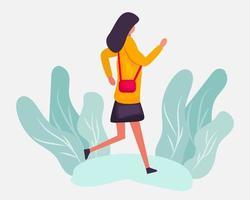 mujer joven empleada corriendo ilustración en estilo plano vector