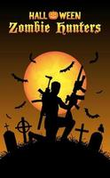 halloween zombie hunter with machine gun at graveyard vector