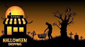 Halloween store shop in a graveyard vector