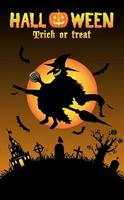 witch with halloween background vector
