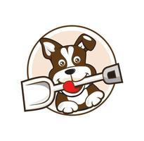Dog puppy holding scoop cartoon logo design vector