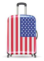 travel luggage bag united state of america flag vector