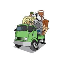 Cartoon pickup truck loaded full of household junk design vector