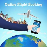 laptop online flight booking with travel landmarks vector