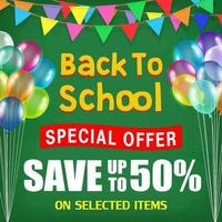 back to school sale poster with student items vector